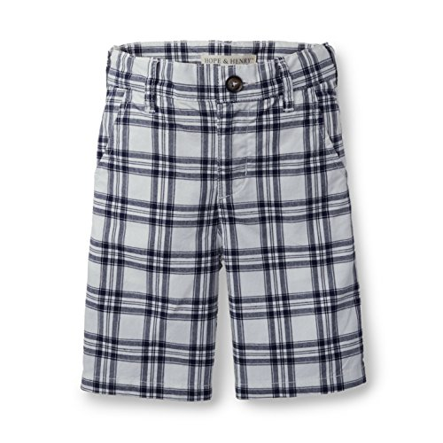 Shorts Plaid Canvas (Hope & Henry Boys White and Blue Plaid Short)