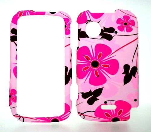 Pink Flower Rubberized Snap on Hard Protective Cover Case for Huawei M735 (Huawei M735 Case)