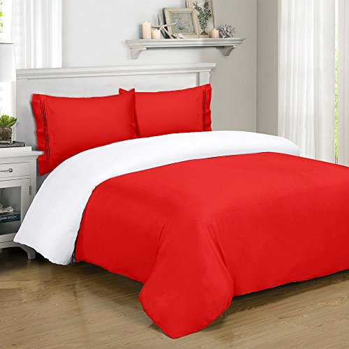 Full Queen Red Duvet Cover Set with 1 Duvet and 2 Pillowcases. Duvet Cover : 90