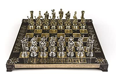 Marinakis Handmade Poseidon Metal Chess Set In Wooden Box