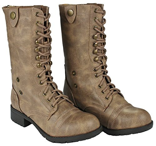 Women Holly-7 Taupe Military Combat Foldable Cuff Faux Leather Plaid/Quilted Back Zipper Lace Up Boots-8.5 by JJF Shoes (Image #3)