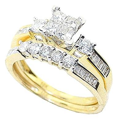 10K Yellow Gold Bridal Set 1cttw Princess Cut Round And Baguette Diamonds