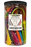 "Electriduct Nylon Cable Tie Kit - 650 Zip Ties - Multi Color (Blue, Red, Green, Yellow, Fuchsia, Orange, Gray, Purple) - Assorted Lengths 4"", 6"", 8"", 11"""