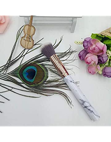 Marbling Pincel de maquillaje Mango de plástico Tubo de aluminio Fibra Máscara para el cabello Cepillo
