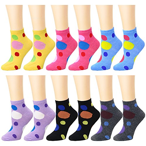 Polka Dots White Cotton Socks - 12 Pack Women's Ankle Socks Assorted Colors Size 9-11 (Polka Dots)