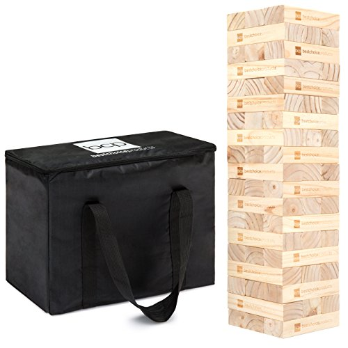 Best Choice Products Giant Wooden Tower Tumbling Block Stacking Game w/ Carrying Bag by Best Choice Products