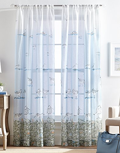 (Destinations 'CHF 2-pc. Shoreline Sheer Curtain Panel Set 84'' Blue/Green/Grey)