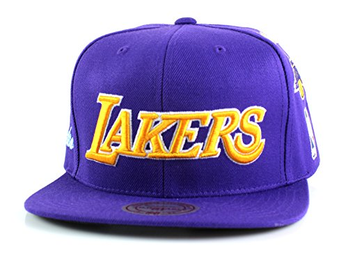 Los Angeles Lakers Mitchell & Ness NBA Team Logo History Flat Brim Snapback Cap (Purple) (Clippers Jersey Vintage)