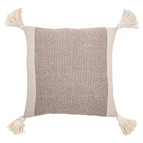 Bloomingville Square Brown Cotton Pillow with Tassels 18