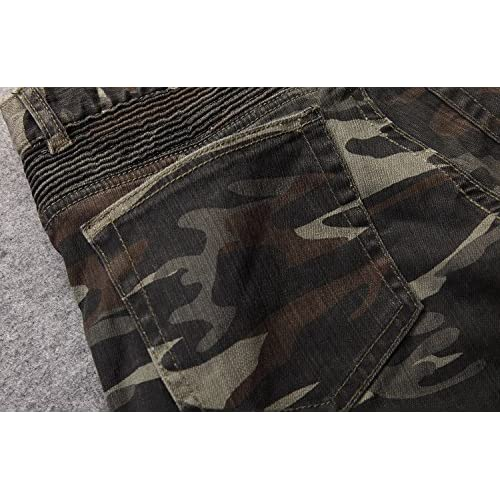 0994481778 Allonly Men s Stylish Casual Slim Fit Straight Leg Camouflage Jeans Pants  With Many Pockets best