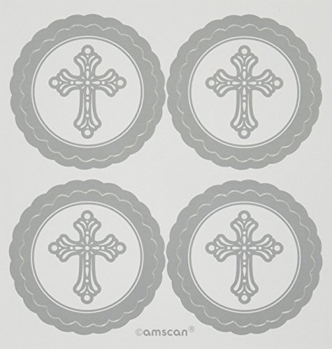 Religious Silver Gray Paper Labels, 5 Ct. | Party Accessory