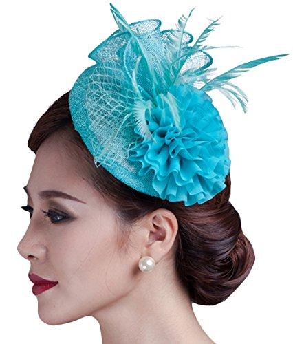 - Fascigirl Sinamay Fascinator Hat Feather Party Pillbox Hat Flower Derby Hat for Women (Light Blue)
