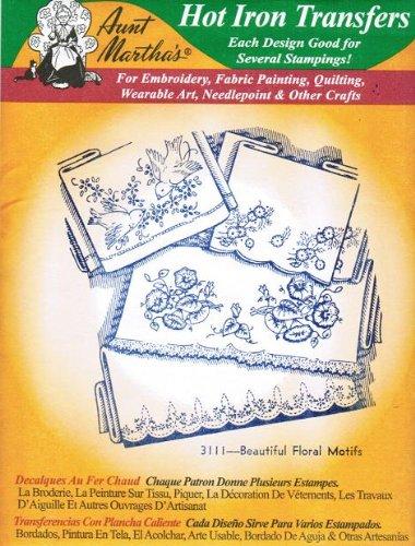 Beautiful Iron - Beautiful Floral Motifs Aunt Martha's Hot Iron Embroidery Transfer