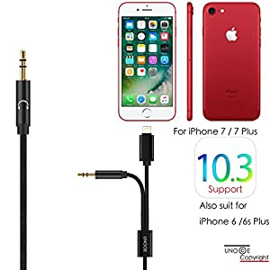 iPhone X AUX Cord, UNOOE iPhone 8 Aux Cable for Car Lightning to 3.5mm Headphone Jack Audio Cable Adapter on iPhones X/8/8 Plus to Car Home Stereo,Bose Speaker, Beats Headphone,iPad,iPod (Black)