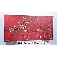 """Cuadro decorativo moderno """"Rama de árbol y pajaritos"""""""
