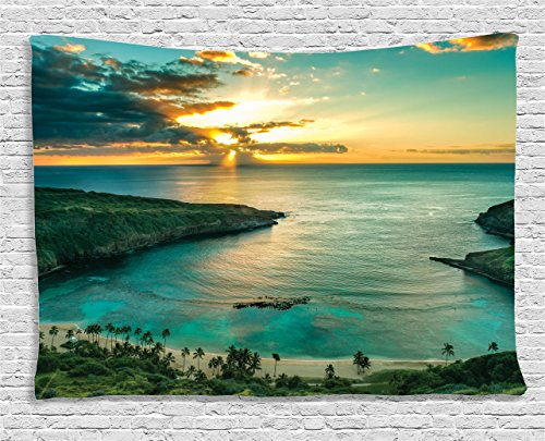 Hawaiian Decor Tapestry by Ambesonne, Sunrise Over Hanauma
