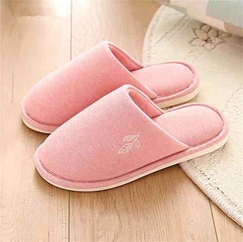 1 JaHGDU Women Home shoes Slippers Indoor Thermal Non Slip Cotton Slippers Pink Small Soild color Keep Warm for Women