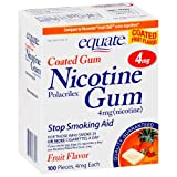 Equate - Nicotine Gum 4 mg, Coated, Fruit Flavor, 100 Pieces