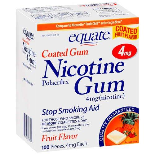 Equate - Nicotine Gum 4 mg, Coated, Fruit Flavor, 100 (4 Mg Fruit Flavor)