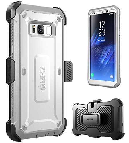 SUPCASE Samsung Galaxy S8+ Plus Case, Full-body Rugged Holster Case WITHOUT Screen Protector for Galaxy S8+ Plus (2017 Release), Unicorn Beetle PRO Series - Retail Package (White/Gray)