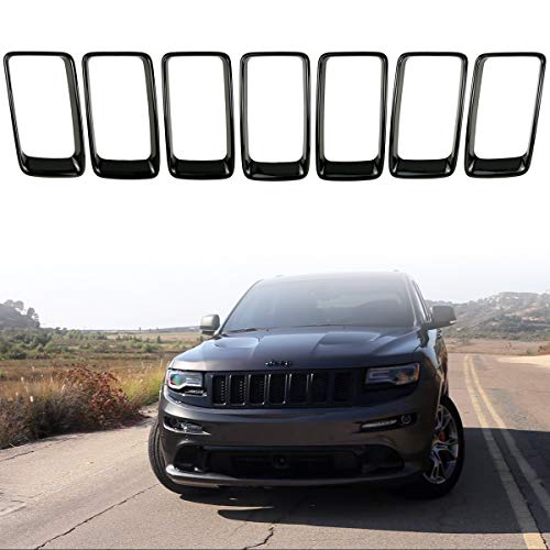 7PC Black Grill Ring Gloss Black Front Grille Inserts Cover Trim Kit for 2014-2016 Jeep Grand - Grand Cherokee Grille