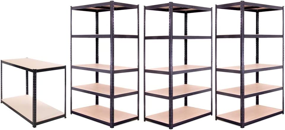 Office - Workshop 180 x 90 x 60cm Heavy Duty Racking 5 Bay 175KG Per Shelf 5 Tier Shed 875KG Capacity Black Shelves for Storage 5 Year Warranty /… Garage Shelving Units