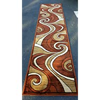 Modern Long Contemporary Runner Area Rug Brown Rust Bellagio Design 144 (32 Inch X 10 Feet)