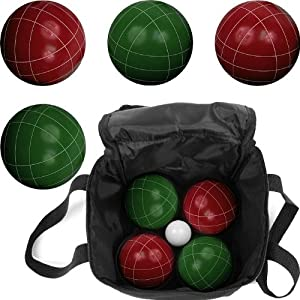 Full Size Premium Bocce Ball Set with 8 Balls, 1 Pallino and Heavy Duty Carrying Bag - Include 2 Bonus Dice!