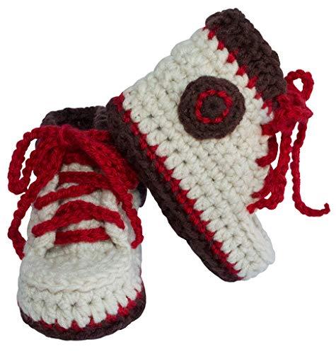 BePe Baby Infant Crochet Hiking Boots Socks Bootie Slipper Shoes - Beige/Brown - Size 0-6 - Beige Footwear Trim