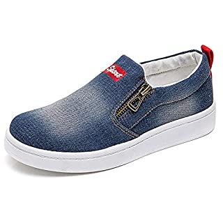 XIANV Women Denim Jeans Sneaker Classic Low Top Canvas Casual Shoes Slip-on Loafers (8 M US, Dark Blue)