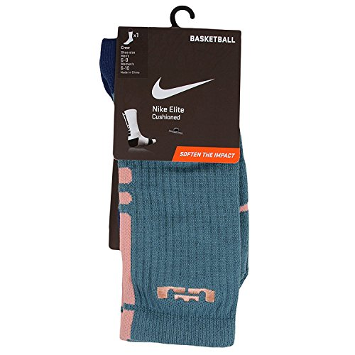 Nike Lebron Vi (Nike Men's Lebron Elite Cushioned Basketball Socks Medium (6-8) Mineral Teal Atomic Pink)