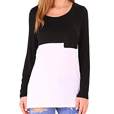 9a77b4ca105 Sale Clearance Women s Blouse Sunday77 Tops Daily Solid Pocket O-Neck  Patchwork Full Sleeve T Shirts Casual Shirt for Ladies