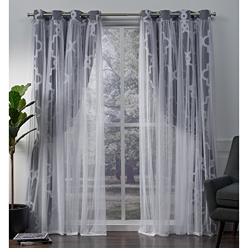 Exclusive Home Curtains Alegra Layered Geometric Blackout and Sheer Window Curtain Panel Pair with Grommet Top, 52×84, Indigo, 2 Piece