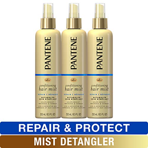 Pantene Conditioning Mist Detangler, Nutrient Boost, Pro-V Repair and Protect for Damaged Hair, 8.5 fl oz, Triple Pack