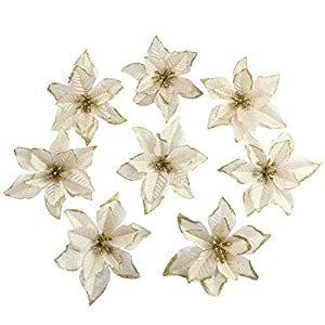 8 Pcs Glitter Poinsettia Christmas Ornament Artificial Wedding Christmas Tree Flowers Wreaths Decor Ornament, 5inch 59