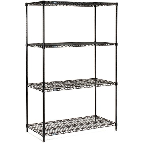 Nexel 4-Shelf Wire Shelving Unit, Black Finish, 18