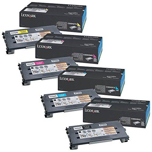 (Lexmark C500H2CG, C500H2MG, C500H2YG, C500H2KG High Yield Toner Cartridge Set)