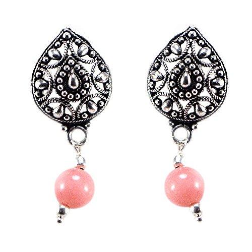 silvesto Inde perles quartz rose clair plaqué argent 925Boucles d'oreille pendantes Sz 33mm pg-22795