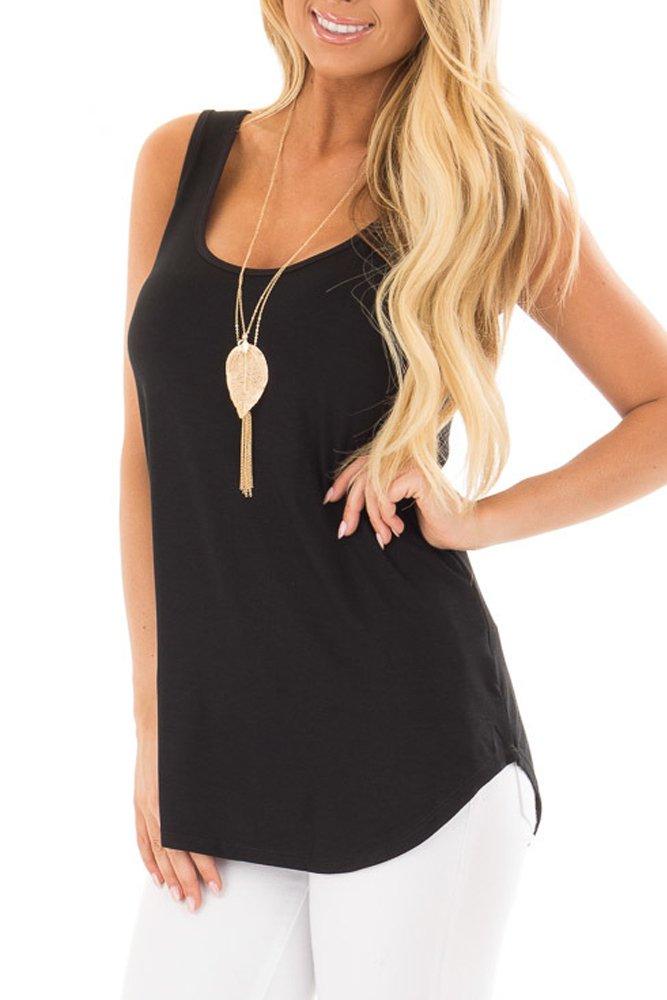 YIBU Apparel Women Sleeveless Scoop Neck Tank Top Casual Loose Fit Simple Plain Tunic Tank Top Shirt Black Large