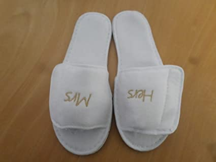 53de81ee4 Personalised Embroidered Terry Towelling Slippers - White