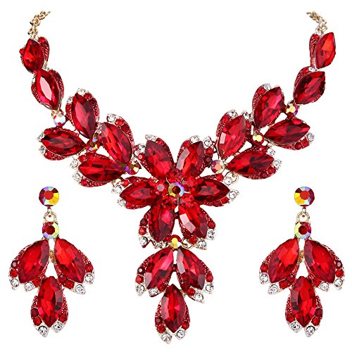 (BriLove Wedding Bridal Necklace Earrings Jewelry Set Crystal Marquise Leaf Petal Flower Statement Necklace Dangle Earrings Set Ruby Color Gold-Toned)