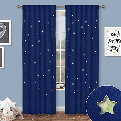 NICETOWN Blue Curtains Kids Nursery - Naptime Essential Nursery Draperies, Creative Window Drapes Star Cut Out Design Cosmic Themed Kids Room (Navy Blue, Set of 2, W52 x L84-Inch)
