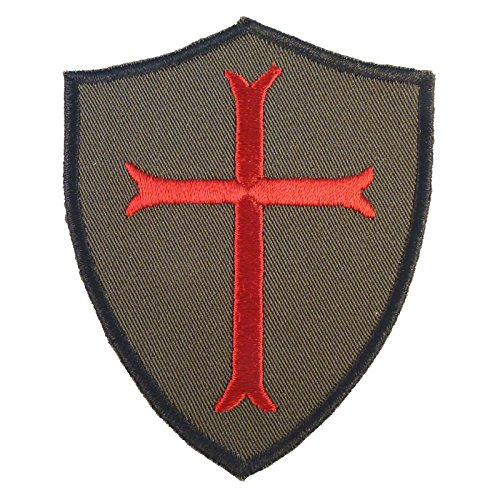 - LEGEEON Olive Drab Green OD Crusaders Templar Cross US Navy Seals DEVGRU Embroidered Touch Fastener Patch