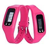 Digital Pedometer,Promisen® Run Step Walking Distance Fitness Tracker Sport Watch Bracelet Wristband (Hot Pink)