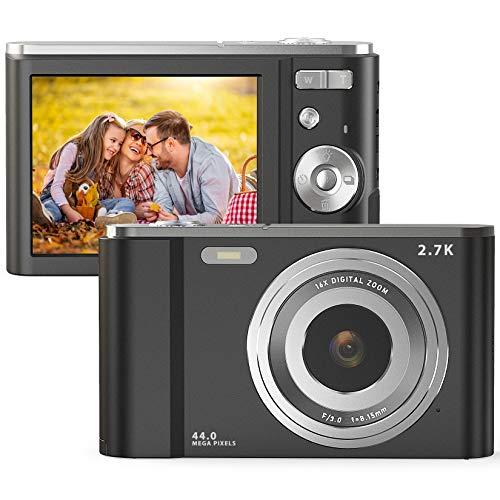 Digital Camera, FamBrow 2.7K Ultra HD 44 MP Vlogging Camera with 16X Digital Zoom,Point & Shoot Digital Camera with 2.88…