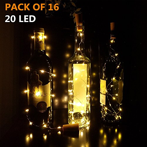 Wine Bottle Lights With Cork,DIGSELL 20 LED Cork Lights For Bottle 16 Pack Copper Wire Bottle Lights For DIY Party Decor Christmas Halloween Wedding(Warm White)
