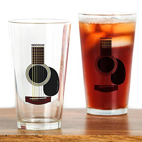 CafePress acoustic guitar Glass Drinking