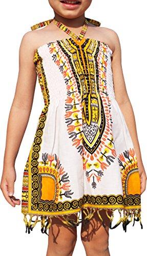 Raan Pah Muang Girls Summer Elastic Halter Dashiki Dress with Tassels African Boubou, 3-6 Years, White Yellow by Raan Pah Muang