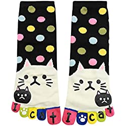 uxcell Women Dots Letter Cat Prints Stretchy Ankle Length Toe Socks Black