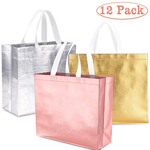 (Whaline Set of 12 Glossy Reusable Grocery Bag, Tote Bag with Handle, Non-woven Stylish Gift Bag, Goodies Bag, Shopping Bag, Promotional Bag, for Party,Event,Wedding,Birthday (Rose gold, Gold,)